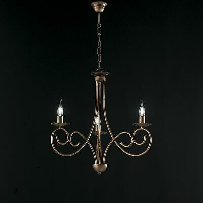 Hanging Chandelier Candles Black Copper Wrought Iron Rustic 3 Lights • 62.20£