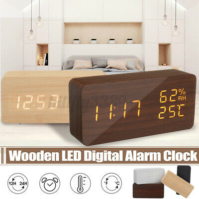 AU22.39 • Buy Wooden Alarm Clock Table Desk  LED+RH+Temperature Display USB Modern Home Decor