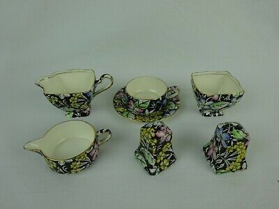 $ CDN183.57 • Buy Royal Winton Grimwades Chintz  Spring Glory Black  ~ 7 Piece Collection ~