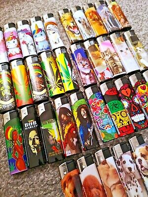 £2.99 • Buy 4 Pack / 5 Pack Gsd Electronic Refillable Lighters Multi Pack Assorted Designs