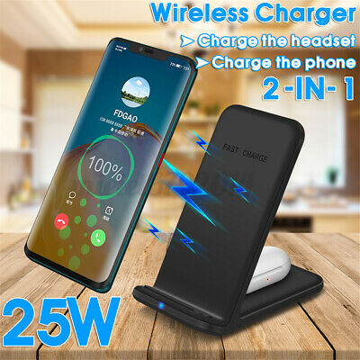 AU20.94 • Buy 25W 2 In 1 Qi Wireless Charger Dock Stand For IPhone 11 12 For AirPod For Galaxy