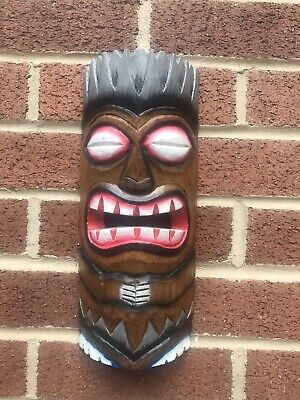 ChiselCraft Large 30cm Hand Carved Maori Wooden Hanging Tiki Mask Tribal Art A • 10.99£