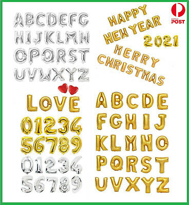 AU1 • Buy 16  Gold/Silver Foil Balloons Alphabet Letter & Number Birthday Party (35-40cm)