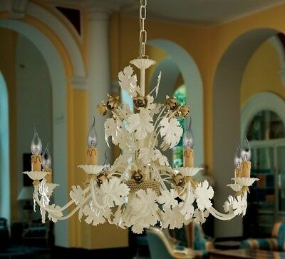 Chandelier Style Florentine Wrought Iron Leaves Candles Classic Made IN Italy • 214.62£