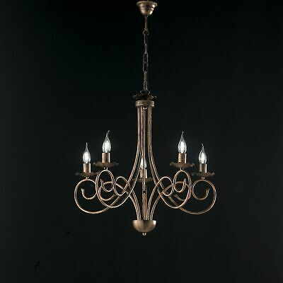 Hanging Chandelier Candles Black Copper Wrought Iron Rustic 5 Lights • 89.71£