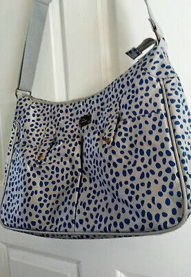 Caboodle Baby Charge Bag Large Spotty Blue Silver Grey Cross Body Messenger • 7.99£
