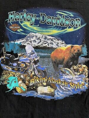 $ CDN39.13 • Buy Vintage 90's Harley Davidson Alaska SINGLE STITCH Black Graphic T-shirt SZ XXL