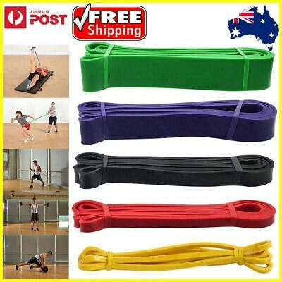 AU28.09 • Buy Set Of 5 Heavy Duty Resistance Band Loop Power Gym Fitness Exercise Yoga Workout