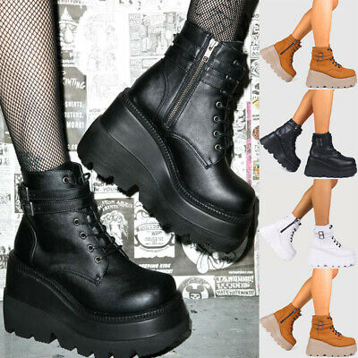Women Chunky Platform Wedge Heel Ankle Boots Goth Punk Lace Up Zipper Boot Shoes • 26.09£