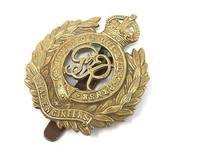 Antique Vintage WW2 Royal Engineers Officers Gilt Military Cap Badge #25446 • 0.99£