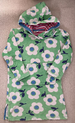 Mini Boden Towelling Swimming Hoodie/dress Age 4-5 Girls Green With Flowers • 7£