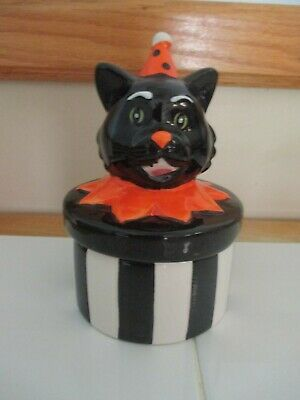 $ CDN43.73 • Buy  NEW-Halloween Striped Black Cat In Party Hat Ceramic Canister Retro Cat