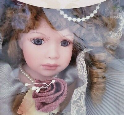 $ CDN98 • Buy Victorian Bisque Porcelain Doll 16  Beautiful Dress, Curls, Eye Lashes, Jewelry