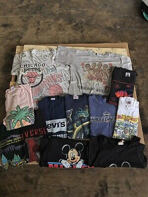 $ CDN195.51 • Buy Vintage 90s T Shirt Bundle - Lot Of 12 Vintage Single Stitched T Shirts Made USA