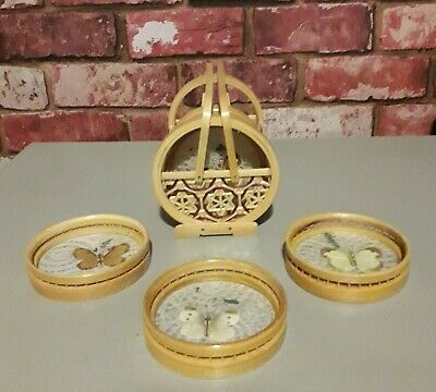 Vintage 6 X Pressed Real Butterfly/Moth Coasters Bamboo / Wicker & Holder 70s  • 20£