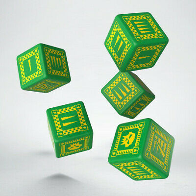 AU12.95 • Buy Orc Green & Yellow 5D6 Dice (5) - Q-Workshop