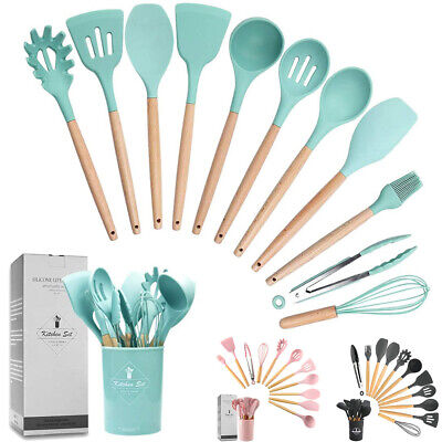AU35.79 • Buy Silicone Utensils Set 12Pcs Wooden Cooking Kitchen Baking Cookware BPA