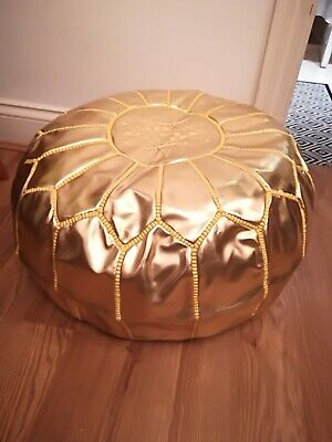 MOROCCAN Gold FAUX LEATHER HAND STITCHED POUFFE • 52£