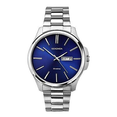 £42.99 • Buy Sekonda Mens Watch With Midnight Blue Dial And Silver Strap 1224