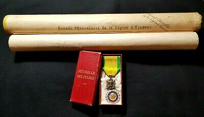 WW1 Original French Military Medal Valour Discipline 1915 Award Military Diploma • 74£