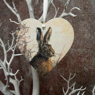 £2.75 • Buy Rustic Wooden Hanging Heart Decor Rabbit Hare Print Wood Slice Letterbox Gift