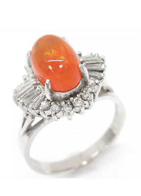 £750.52 • Buy Red-orange Mexican Fire Opal And Diamonds Ring, Platinum Not 18 Ct Carat Gold