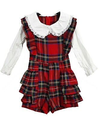 Toddlers Girls Kids Lace Dungaree Style Tartan Checked Red Tutu Outfits Dress UK • 9.99£