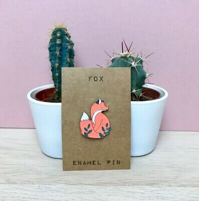 Cute Little Fox Enamel Pin Badge Leaves Forest Animal Wildlife Gift Silver Leaf • 3.50£