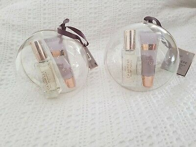 2 X Womens Next CASHMERE 10ml EAU DE PARFUM + Lip Balm Bauble Gift Set NEW BN • 19.99£