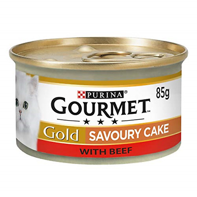 Gourmet Gold Wet Cat Food Savoury Cake Beef Can Adult, 85 G - Pack Of 12 • 7.75£