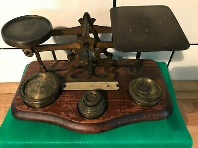 Antique Post Office Weighing Scales With Weights - Brass And Oak • 50£