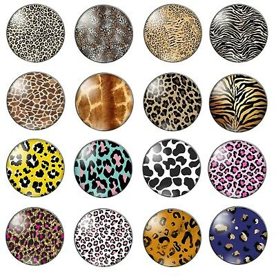 10 African Animal Print Skin Cabochons Mixed Round Glass Cabochon Flat Back Cat • 2.99£