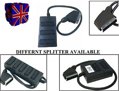 2,3,5 Way Scart Lead Cable Wire Splitter Switch Box Adapter Extension Tv Dvd • 6.49£