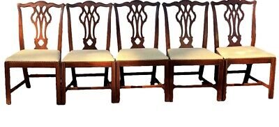 $699 • Buy Set Of 5 Chippendale Straight Leg Mahogany Dining Chairs Mid 20th Century