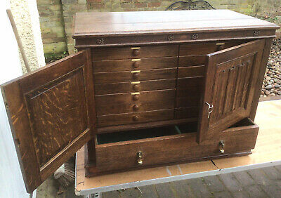 Table Top Antique Oak Linenfold Collectors Chest Of  15 Drawers Cupboard Cabinet • 250£