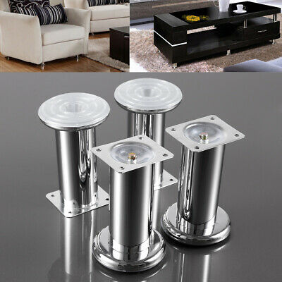 Furniture Cabinet Metal Legs Adjustable Brushed Chrome Kitchen Feet Black Silver • 10.99£