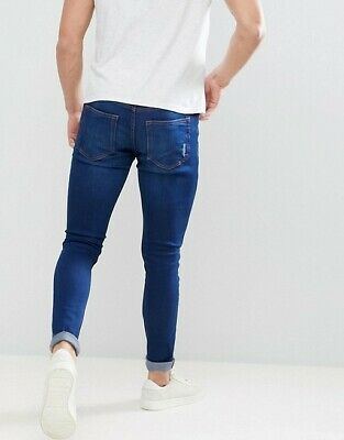 Ringspun Men's Apollo Stretch Ripped Faded Super Skinny Fit Jeans Mid Blue W34 • 18.99£