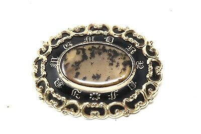 A Huge Fine Antique Victorian 12ct Yellow Gold Moss Agate Mourning Brooch #25796 • 17£