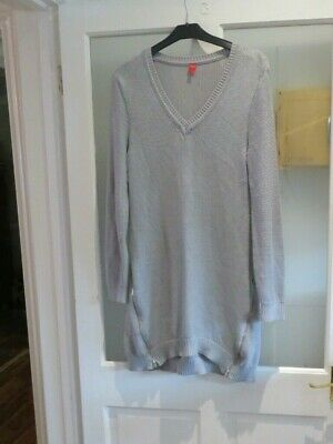 Miss Captain Cotton Blend Long Silver Grey Tunic Jumper 2 X Zips Sz T1 = 10 / 12 • 8£