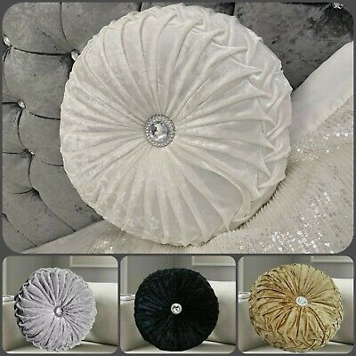 New Supersoft Crushed Diamond Stitched  Velvet Round Cushion Filled SmallLarge  • 10.99£