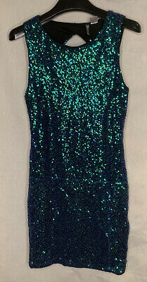 £5.99 • Buy Ladies Two-tone Green-Blue Sparkly Sequinned Dress Divided By H&M EUR 36