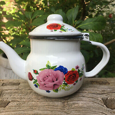 VINTAGE SHABBY CHIC ENAMEL ROSES FLORAL 2 CUP TEAPOT VGC Peas In The Pot • 11.99£