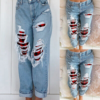 £12.49 • Buy UK Womens Ripped Paid Patch Jeans Ladies Casual High Waist Denim Trousers Pants