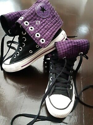 £18 • Buy Womens Girls Black Purple Check Converse All Stars High Tops Trainers Size 3