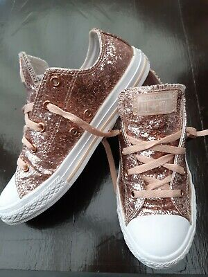 Womens Girls Rose Gold Glitter Converse All Stars Low Rise Trainers Size 3 • 20£
