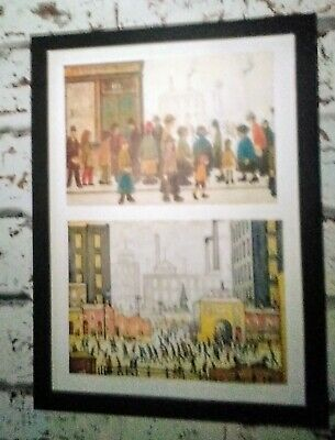 Ls Lowry.'Waiting For The Shops To Open' +'Coming From The Mill'.Block Framed. • 12.99£