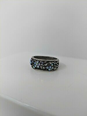 $ CDN7.51 • Buy Size 9 Lia Sophia Jewelry Vintage Silver Plated Blue Cut Crystals Ring
