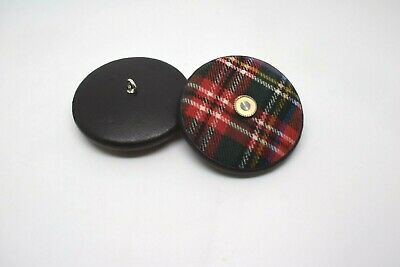 £2.50 • Buy 1 X 44mm Huge Very Large Scottish Tartan Covered Leather Brown Italian Buttons