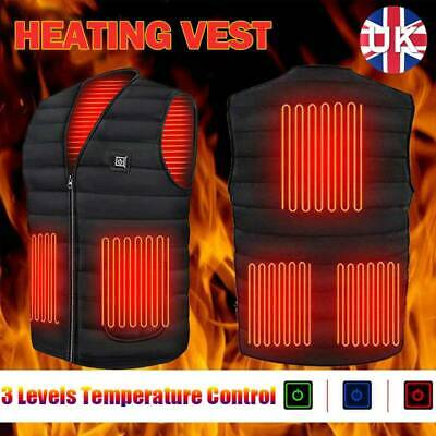Men Women Electric Heated Vest Jacket USB Warm Up Heating Pad Cloth Body Warmer • 18.99£
