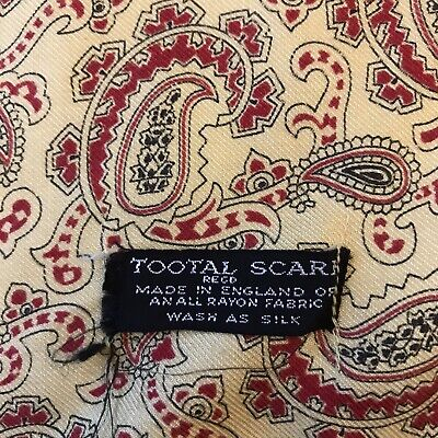 Vintage 1960s Tootal Scarf Yellow With Red Paisley  Print • 45£